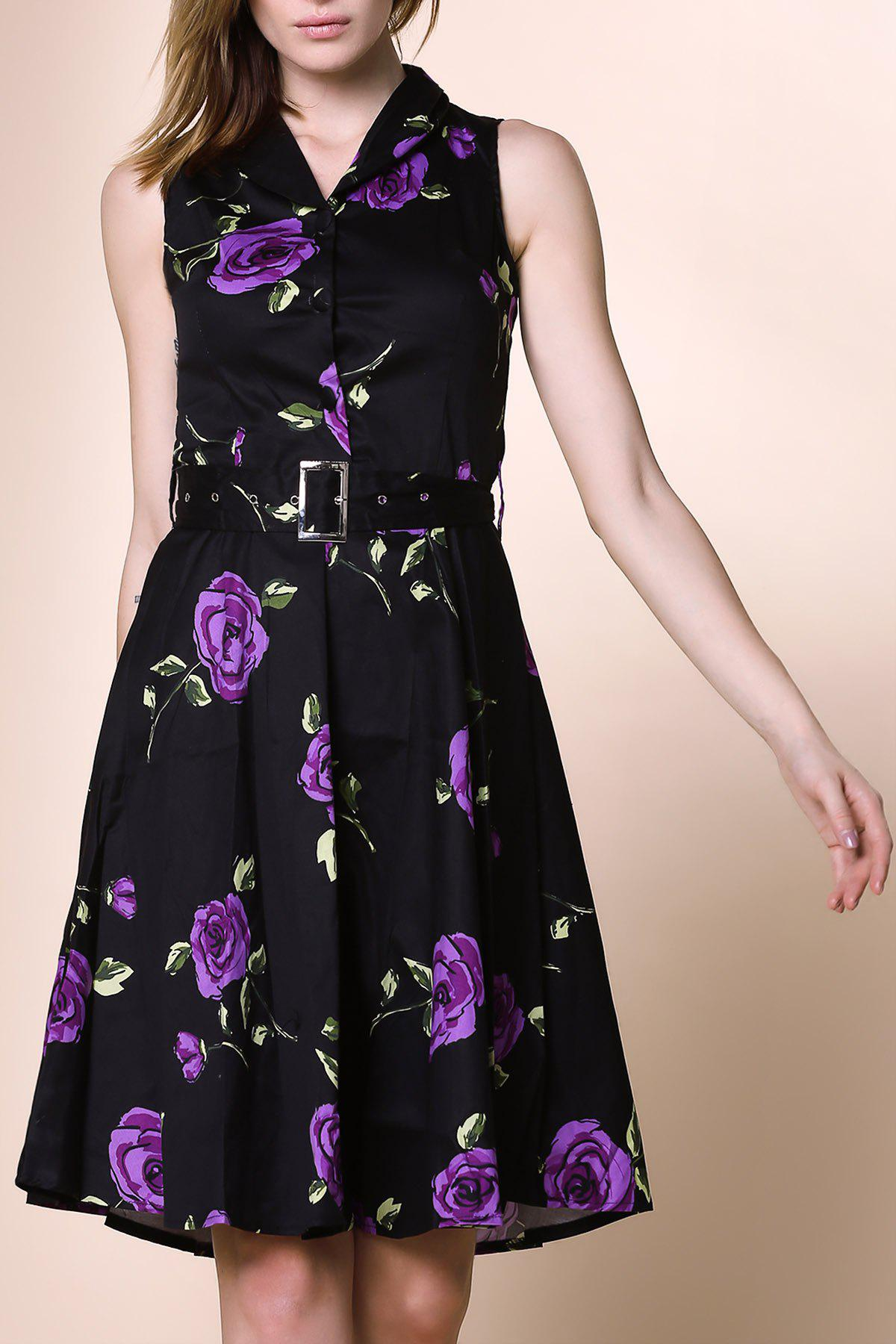 Retro Style Sleeveless Turn-Down Collar Flower Pattern Women's Dress - PURPLE S