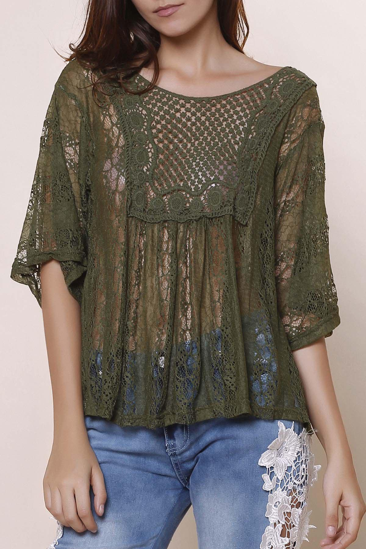 Stylish Hollow Out See-Through Three Quarter Sleeve Scoop Neck Women's Blouse - GREEN XL