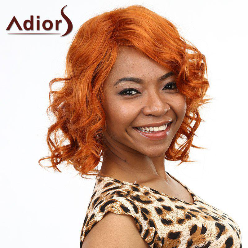Shaggy Wavy Synthetic Charming Medium Side Bang Capless Wig For Women - ORANGE