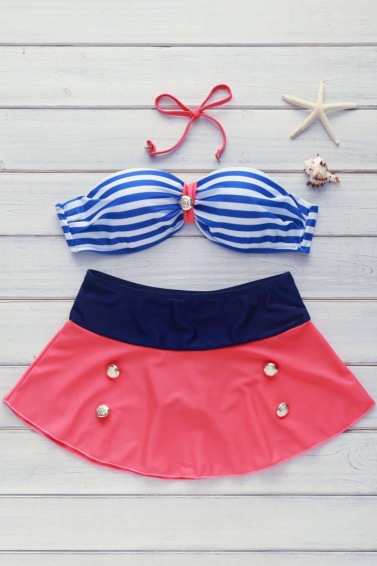 High Waisted Women's Charming Buttons Decoration Stripe Color Matching Swimsuit