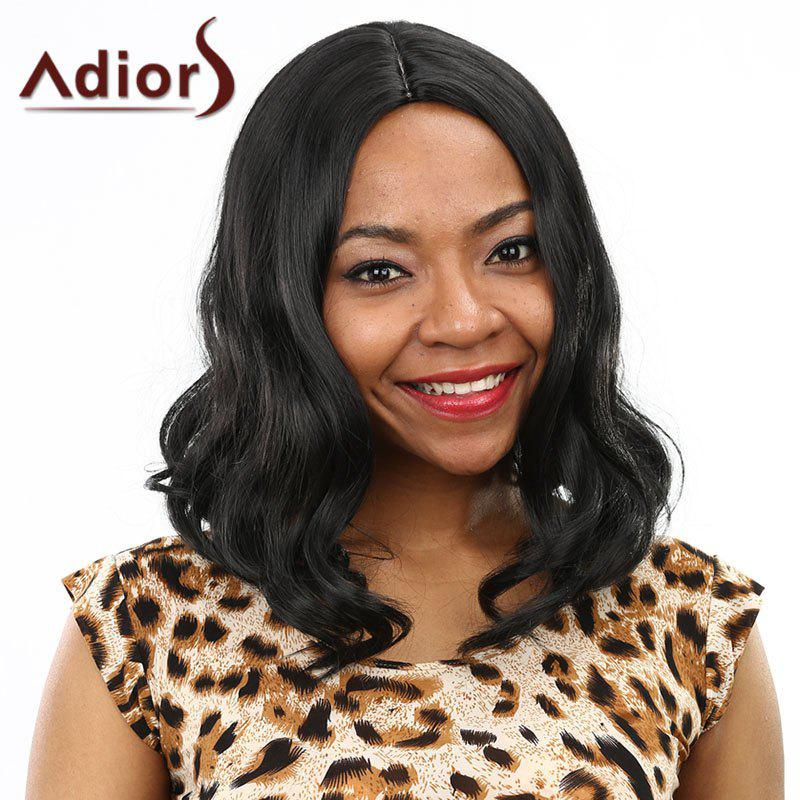 Fluffy Wavy Black Synthetic Stunning Medium Centre Parting Capless Wig For Women