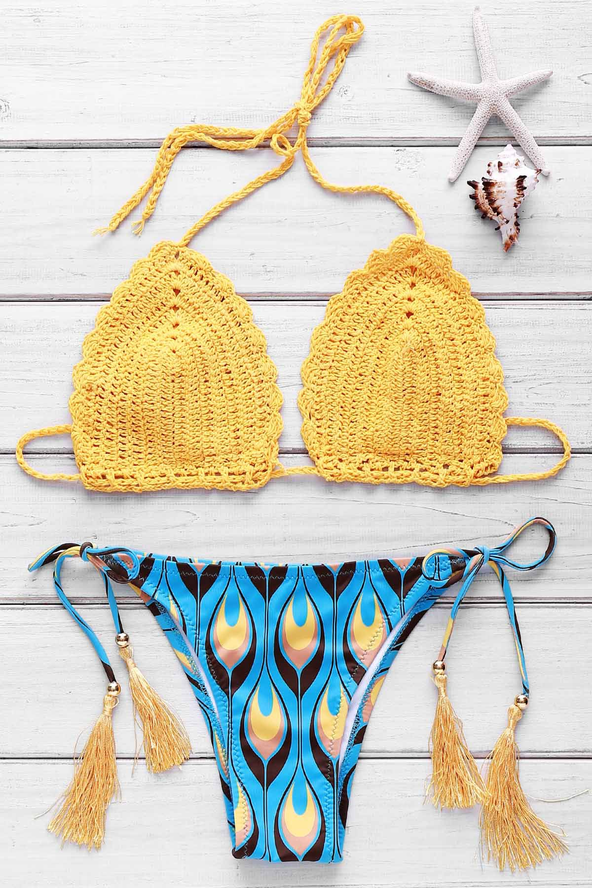 Refreshing Halter Feather Print Crochet Bikini Set For Women - YELLOW S