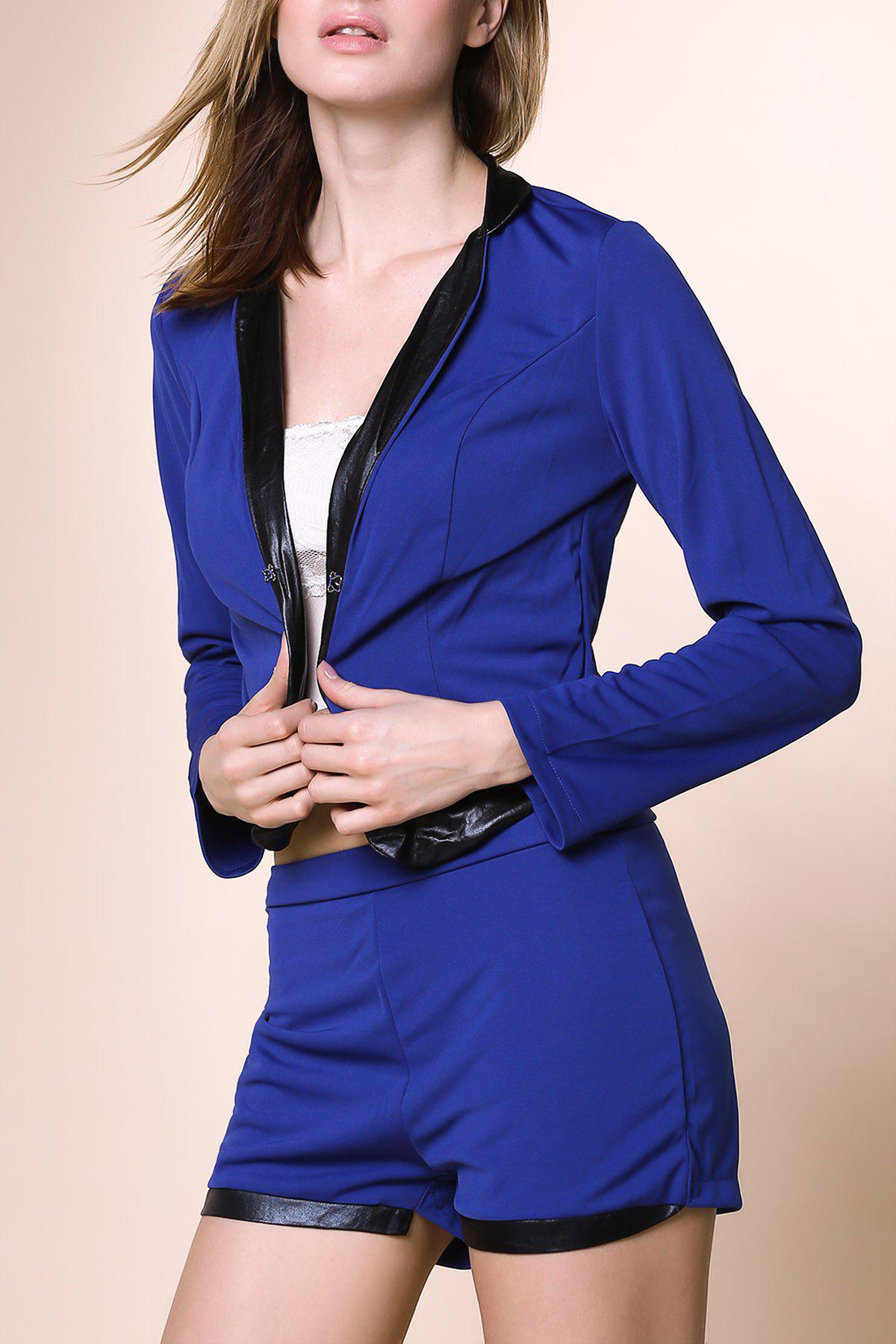 Stylish Long Sleeve Stand-Up Collar Spliced Blazer + Solid Color Shorts Women's Twinset - BLUE S