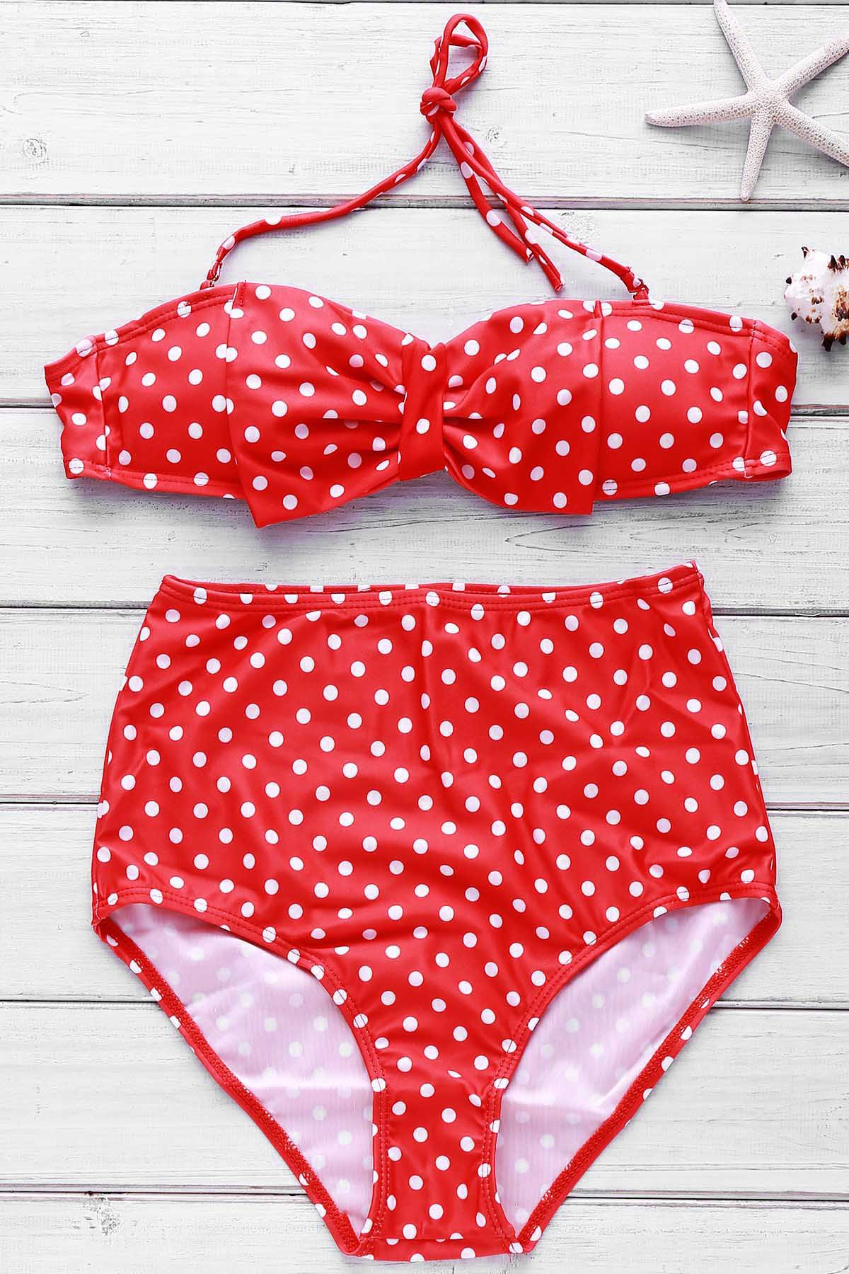 Sexy Women's Polka Dot High-Waisted Bikini Set от Dresslily.com INT