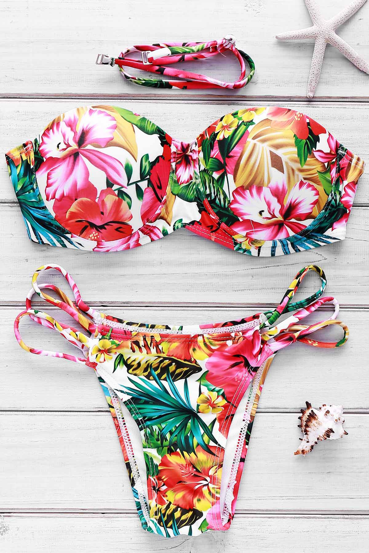 Floral Print Lace-Up Women's Bikini Set