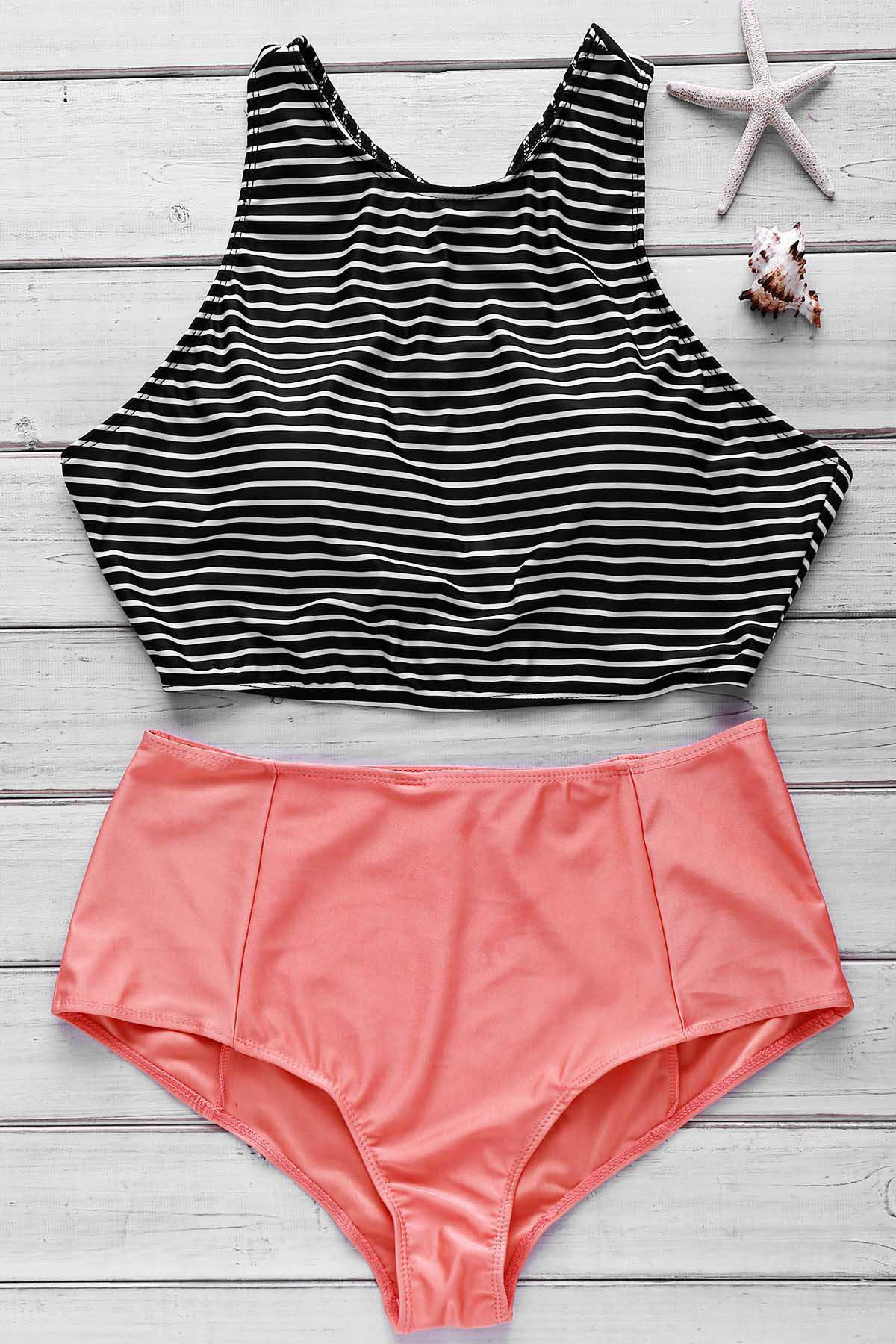 Stripe Print Crop Top and High Waist Briefs Tankini - ORANGE S