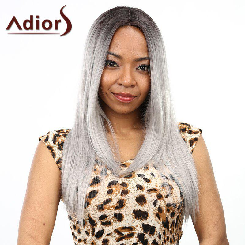Stylish Silky Straight Long Two-Tone Ombre Middle Part Synthetic Wig For Women