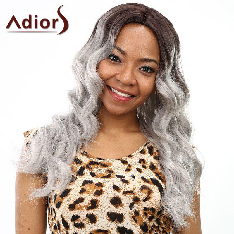 Fluffy Wave Long Synthetic Fashion Brown Ombre Gray Centre Parting Wig For Women - BLACK/GREY