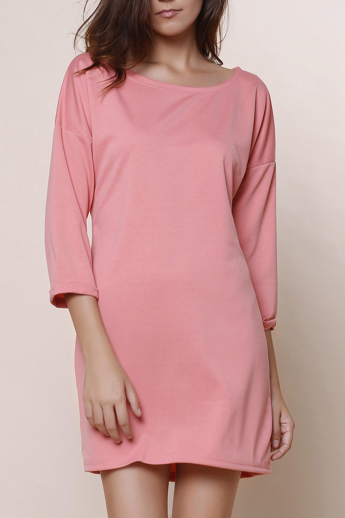 Fashionable Solid Color Scoop Neck Short Sleeve Dress - PINK S
