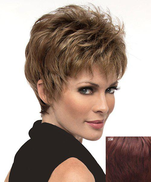 Fluffy Natural Straight Short Ladylike Full Bang Capless Human Hair Wig For Women - DARK AUBURN BROWN