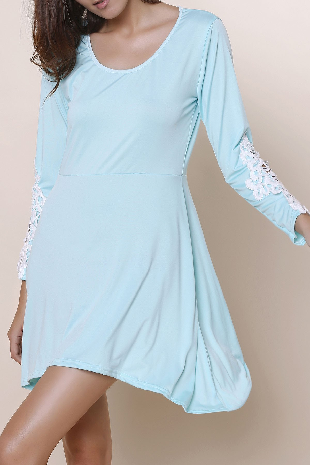 Stylish Scoop Neck Long Sleeve Asymmetrical Hollow Out Women's Dress - LIGHT BLUE XL