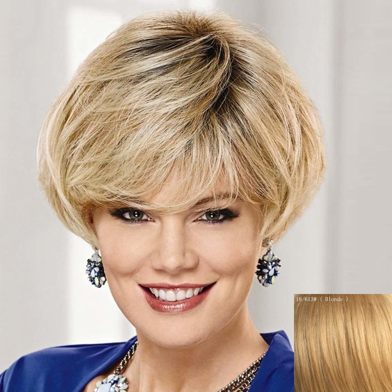 Fashion Short Natural Straight Graceful Side Bang Capless Human Hair Wig For Women - BLONDE