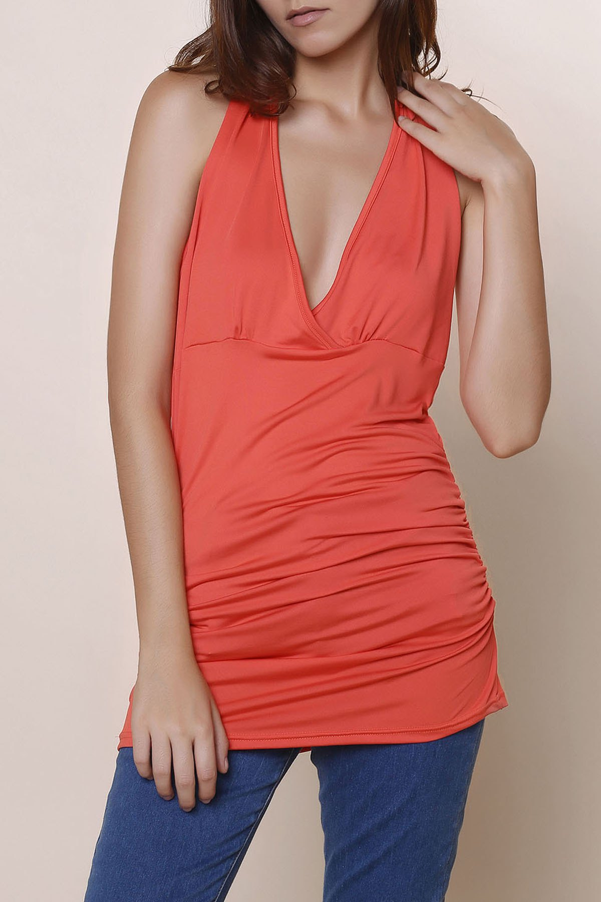 Halter Sleeveless Solid Color Backless Ruched Tank Top - RED S