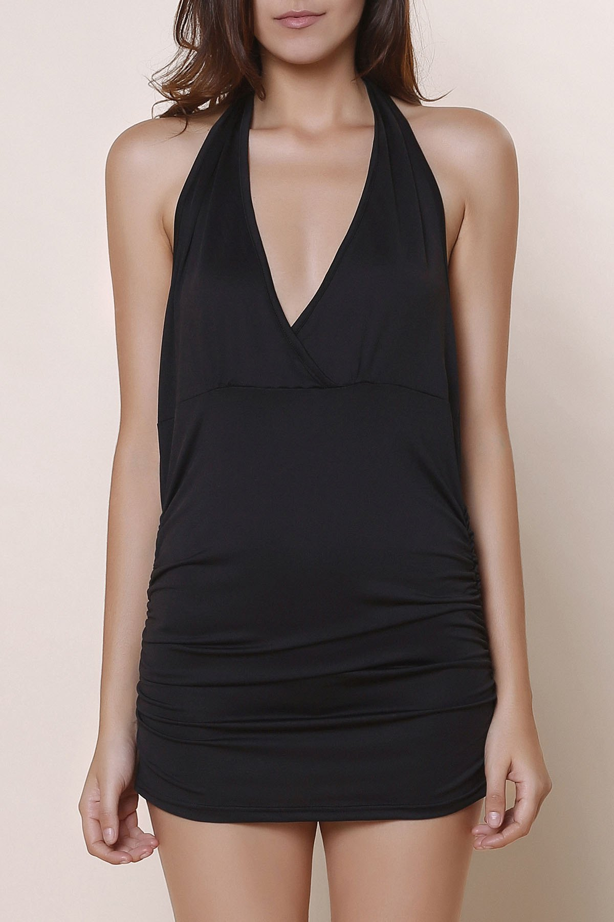 Halter Sleeveless Solid Color Backless Ruched Tank Top - BLACK XL