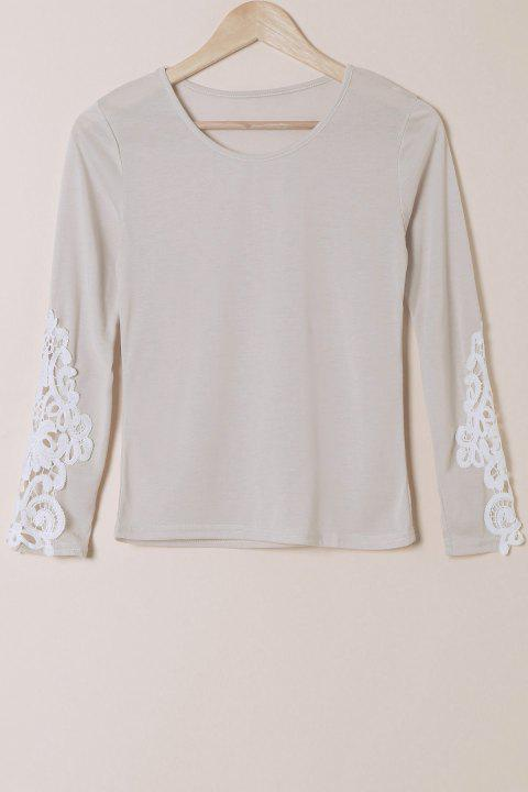 Stylish Scoop Neck Long Sleeve Slimming Hollow Out Women's T-Shirt - GRAY M