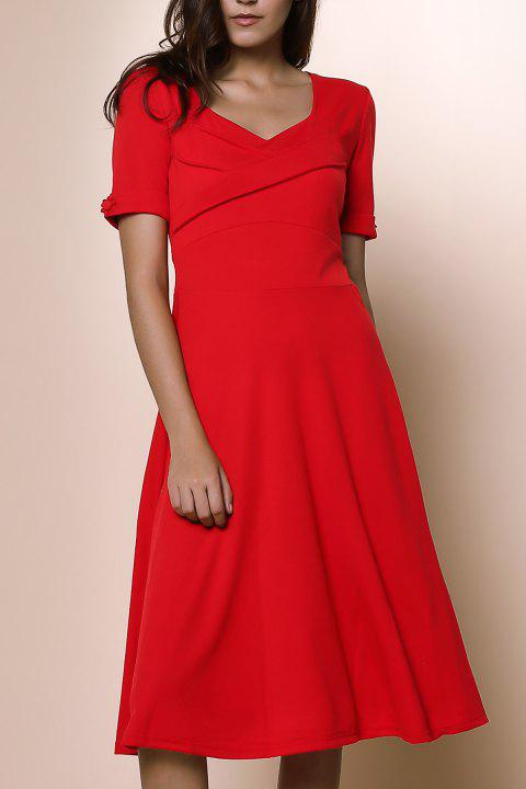 Pure Color Sweetheart Neck 1/2 Sleeve Dress For Women - RED XL