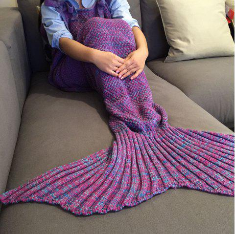 High Quality Drawstring Style Knitted Mermaid Design Sleeping Bag Blanket - PURPLE