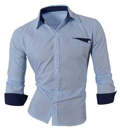 Hot Sale Turn Down Collar Single Breasted Shirt For Men - LIGHT BLUE M