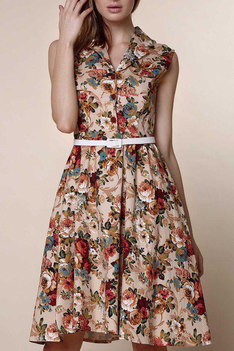 Retro Style Turn-Down Collar Sleeveless Floral Print Women's Ball Gown Dress - APRICOT M