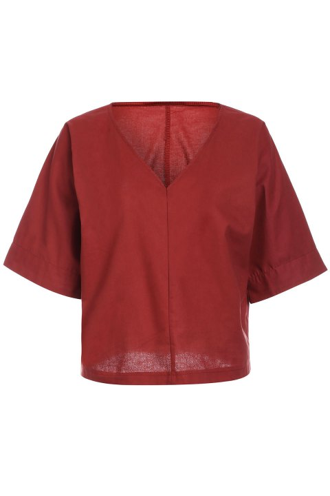 Brief Style 1/2 Sleeve V-Neck Solid Color Loose-Fitting Women's Blouse - BRICK RED XL