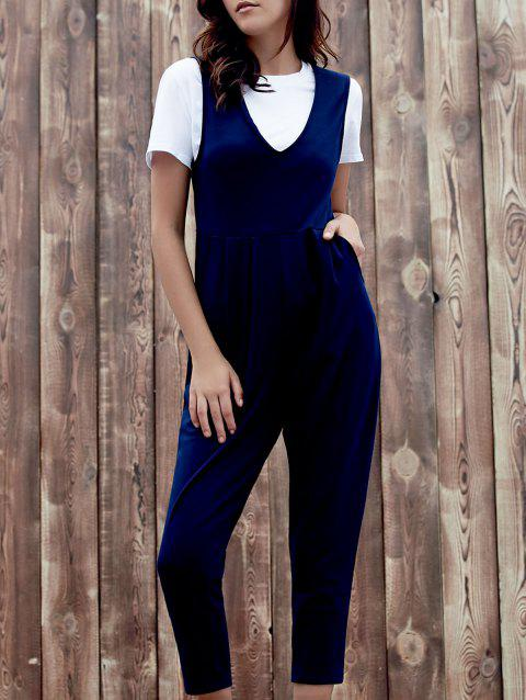 Chic Sleeveless Plunging Neck Solid Color Pocket Design Women's Jumpsuit - DEEP BLUE XL