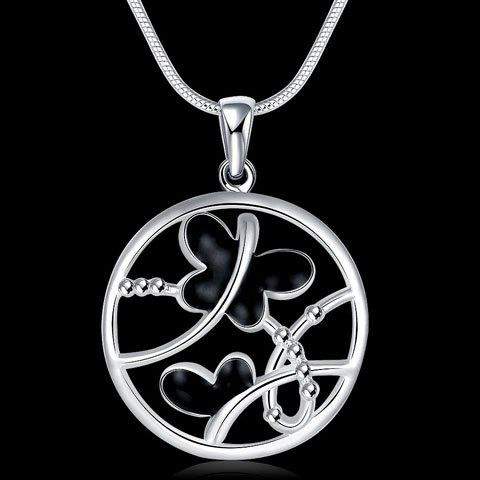 Hollow Out Butterfly Pendant Necklace - SILVER
