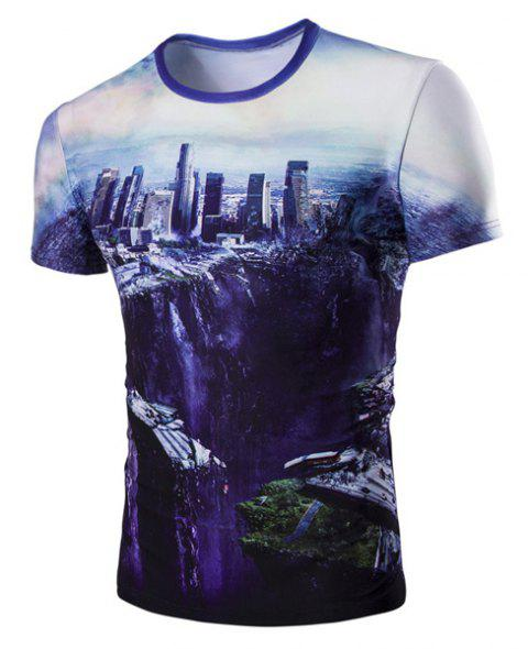 Round Neck The Fall of the City 3D Print Short Sleeve Men's T-Shirt - COLORMIX L
