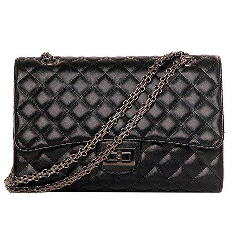 Retro Black Color and Checked Design Women's Crossbody Bag - BLACK
