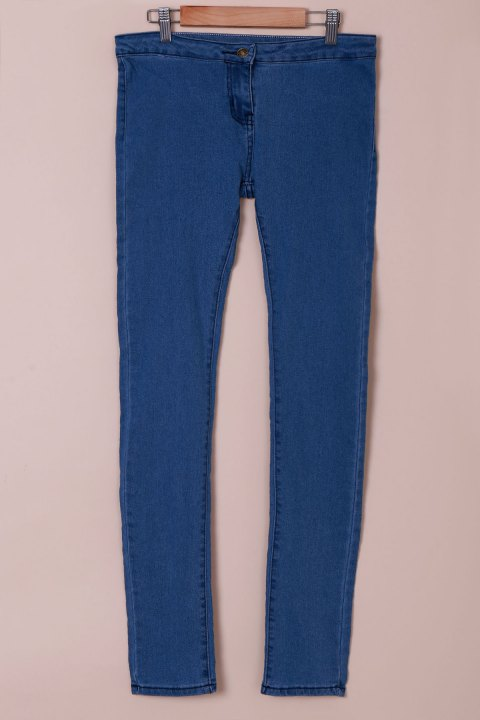 Fashionable Solid Color Skinny High-Waisted Women's Jeans - AZURE M