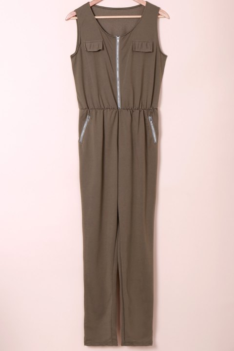 Stylish Sleeveless U Neck Low-Cut Solid Color Women's Jumpsuit - ARMY GREEN XL