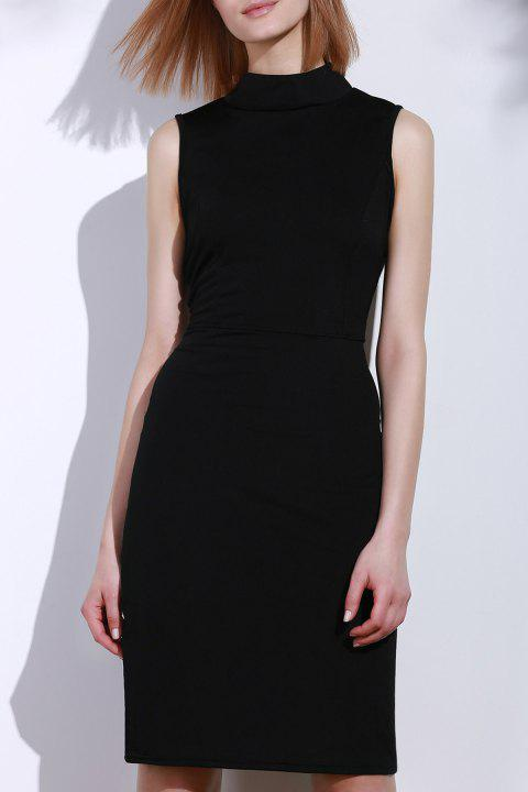 Elegant Sleeveless Solid Color Back Hollow Out Bodycon Dress For Women - BLACK ONE SIZE(FIT SIZE XS TO M)