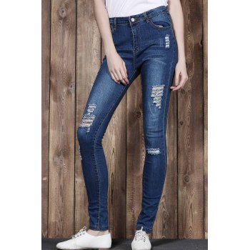 Stylish High Waist Ripped Slimming Women's Jeans - XL XL