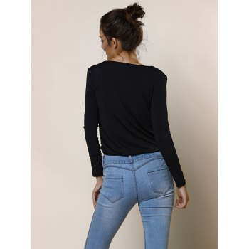 Sexy Plunging Neckline Solid Color Long Sleeve Crop Top For Women - BLACK S