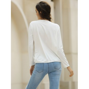 Sexy Plunging Neckline Solid Color Long Sleeve Crop Top For Women - WHITE M