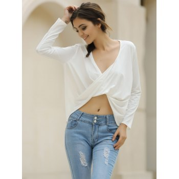 Sexy Plunging Neckline Solid Color Long Sleeve Crop Top For Women - XL XL