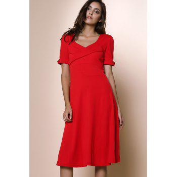 Pure Color Sweetheart Neck 1/2 Sleeve Dress For Women - RED S