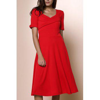 Pure Color Sweetheart Neck 1/2 Sleeve Dress For Women