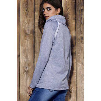 Stylish Long Sleeve Turtleneck Solid Color Women's Sweatshirt - GRAY XL