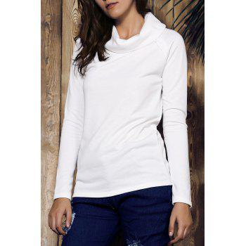 Stylish Long Sleeve Turtleneck Solid Color Women's Sweatshirt