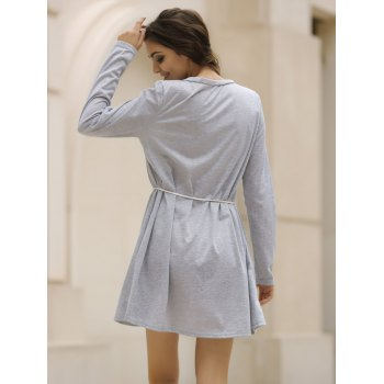 Casual V-Neck Loose-Fitting Long Sleeve Solid Color Dress For Women - GRAY M