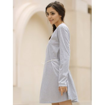 Casual V-Neck Loose-Fitting Long Sleeve Solid Color Dress For Women - GRAY XL