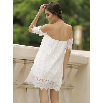 Sexy Short Sleeve Off-The-Shoulder Solid Color Lace Women's Dress - WHITE M