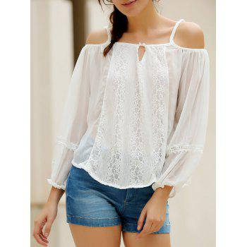 Sexy White Spaghetti Strap Off The Shoulder Long Sleeve Blouse For Women - WHITE WHITE