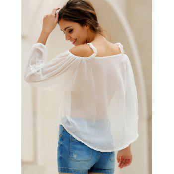 Sexy White Spaghetti Strap Off The Shoulder Long Sleeve Blouse For Women - WHITE L