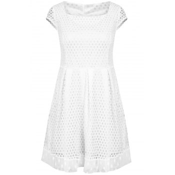 Short Sleeve Square Neck A-Line Dress For Women