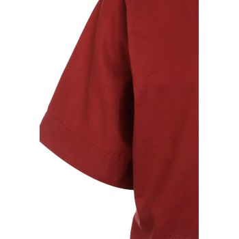 Brief Style 1/2 Sleeve V-Neck Solid Color Loose-Fitting Women's Blouse - BRICK RED BRICK RED