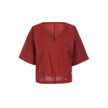 Brief Style 1/2 Sleeve V-Neck Solid Color Loose-Fitting Women's Blouse - BRICK-RED S