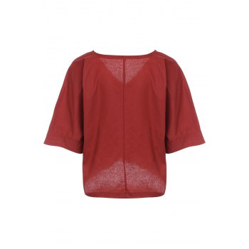 Brief Style 1/2 Sleeve V-Neck Solid Color Loose-Fitting Women's Blouse - BRICK RED M