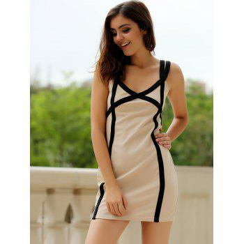 Sexy Sweetheart Neck Color Block Bodycon Women's Bandage Dress - COLORMIX COLORMIX