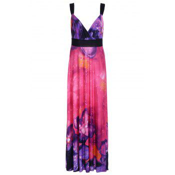 Alluring Women's Plunging Neck Spaghetti Strap Floral Print Maxi Dress